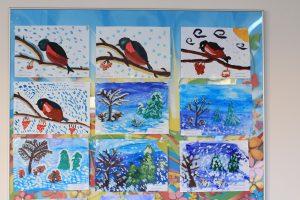 детские рисунки, снегири, зимний лес